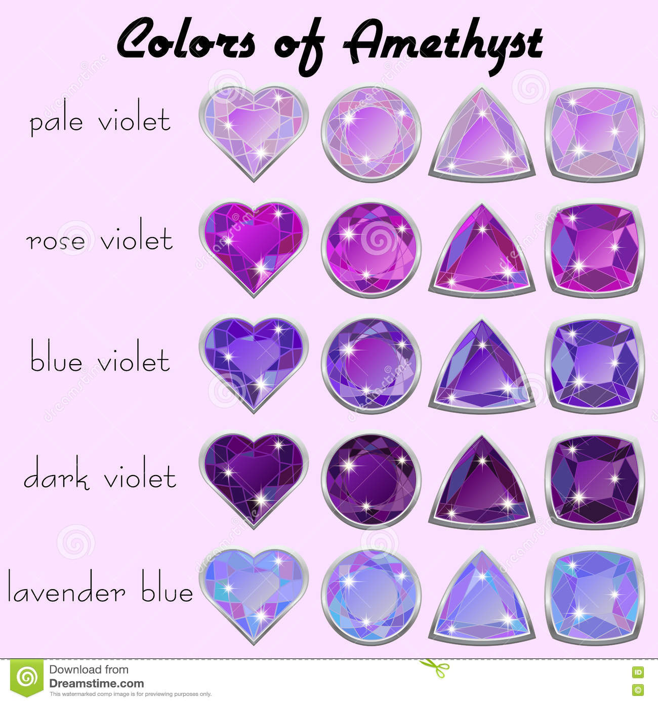 colors of amethyst stock vector illustration of different