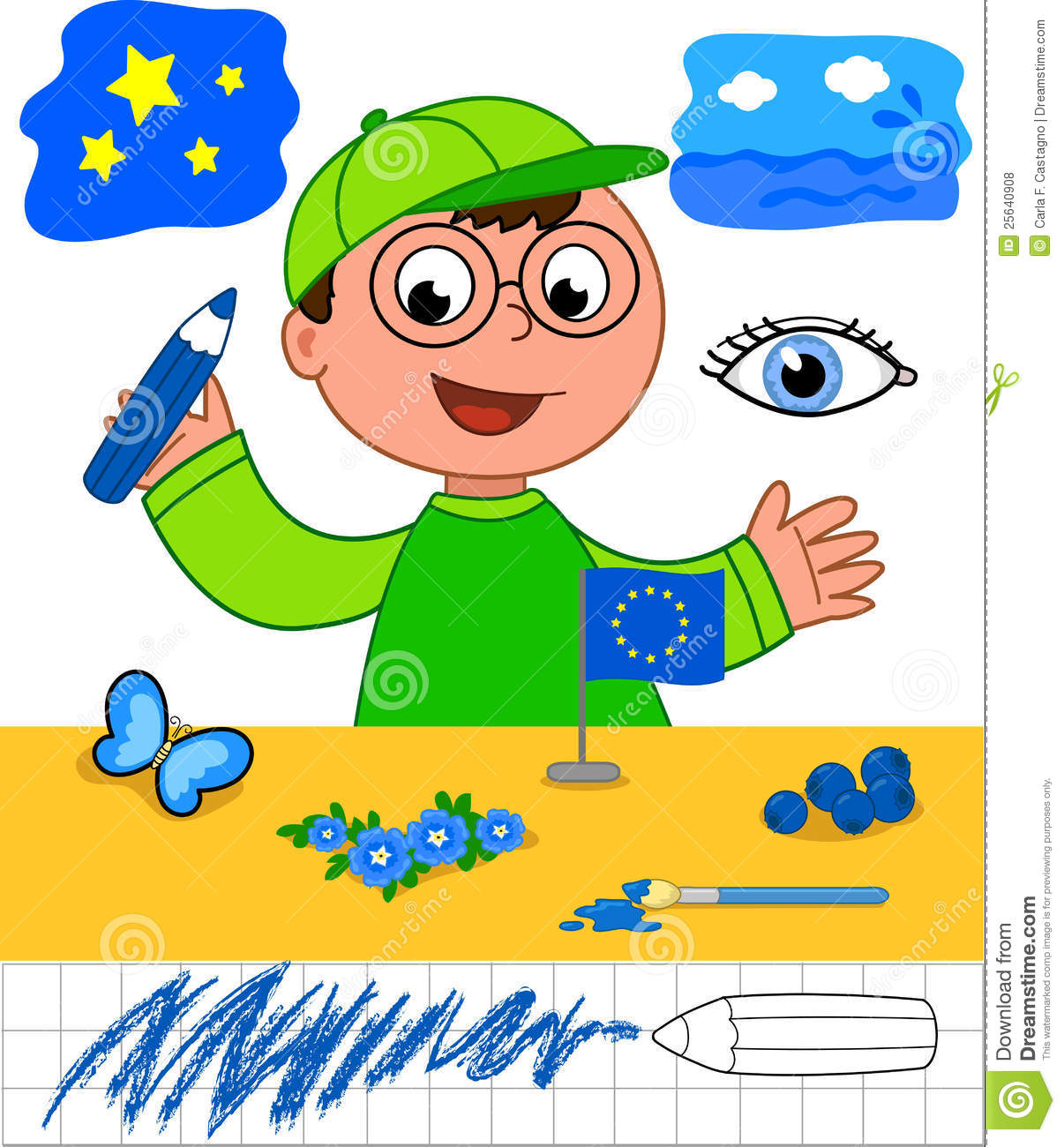 Colors: Boy With Blue Objects Stock Vector - Illustration of child ...
