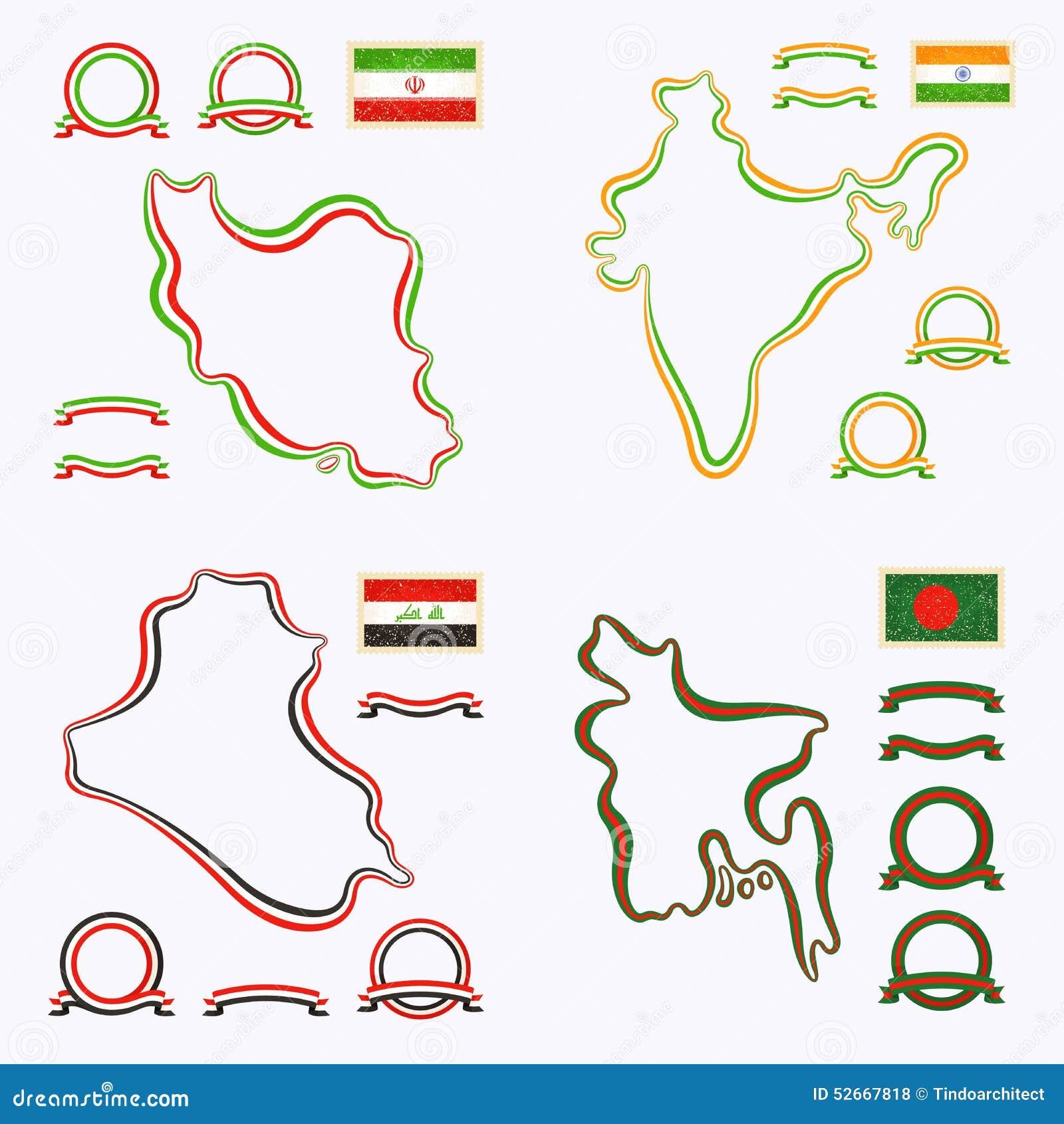 Colors Of Iran India Iraq And Bangladesh Vector Image – Map of Iran and India
