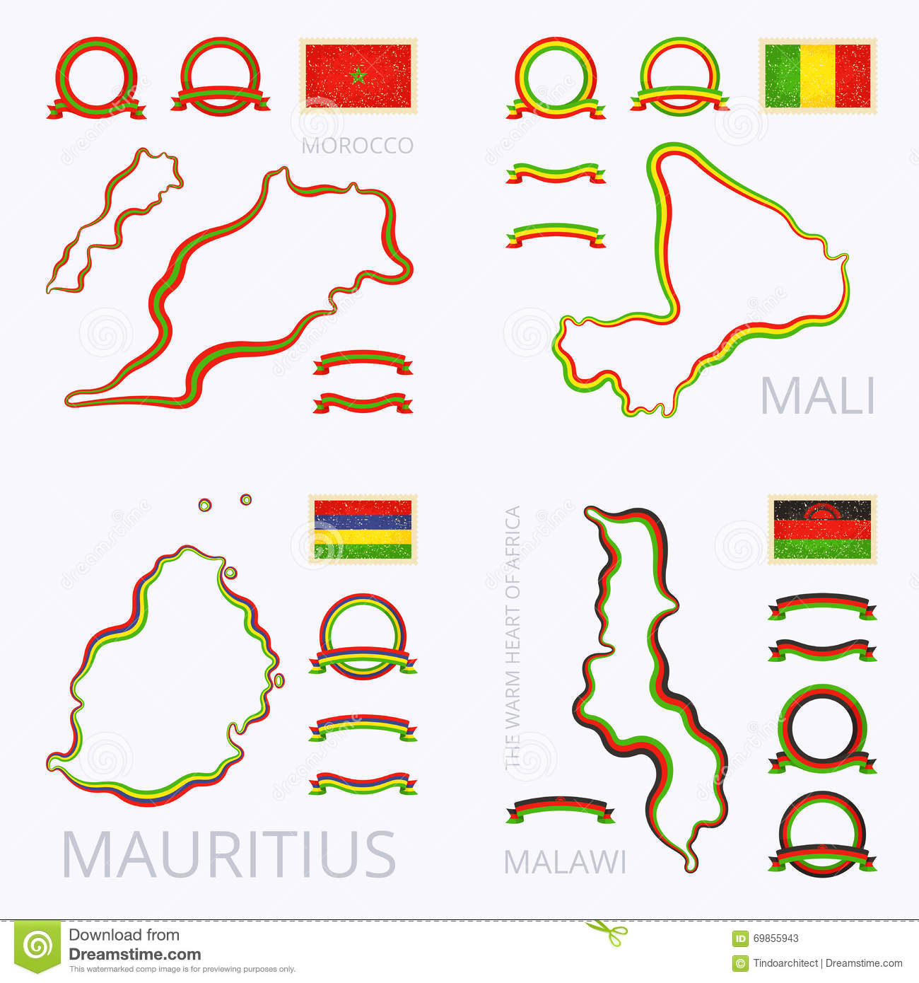 Colors Of Morocco, Mali, Mauritius And Malawi Stock Vector ...