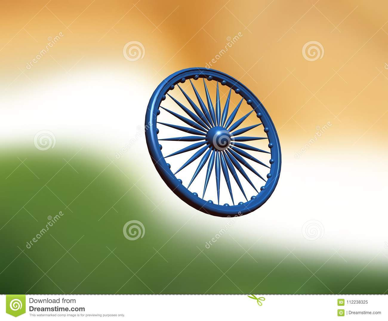 Colors of the national flag of India. Three-dimensional image of a Buddhist  symbol. 3e495842f4b3