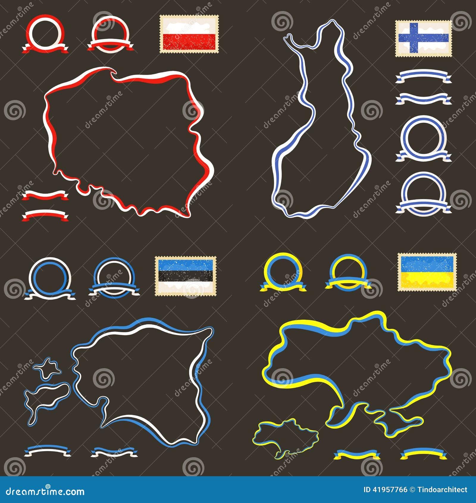 Ukraine Map Outline Colors Of Poland, Finl...