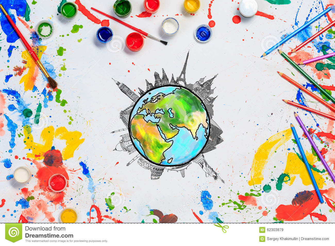 Colors of the world stock image. Image of create, brush ...