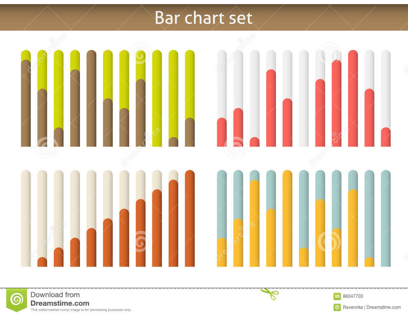 4 Colorul Bar Chart Graph Set Isolated On White Stock Vector