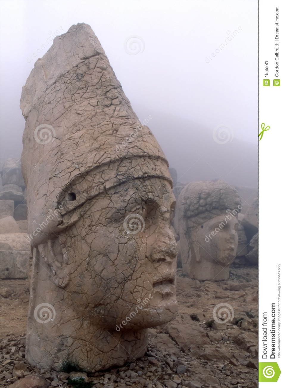 colossal stone heads stock image
