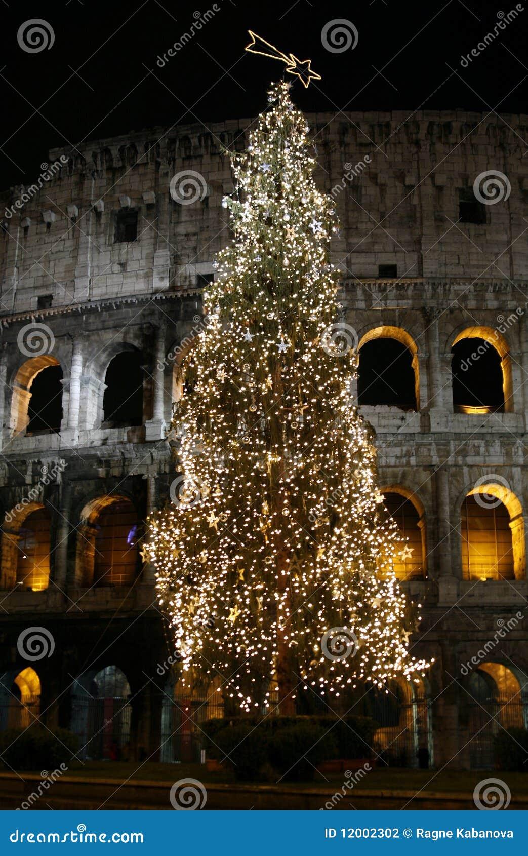 Colosseo met Kerstmisboom bij nacht. Rome, Italië