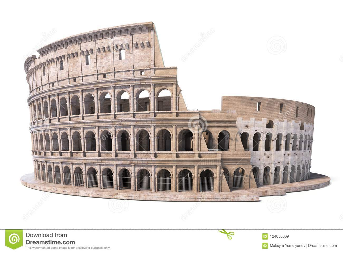 Colosseum Coliseum Isolated On White Symbol Of Rome And Italy