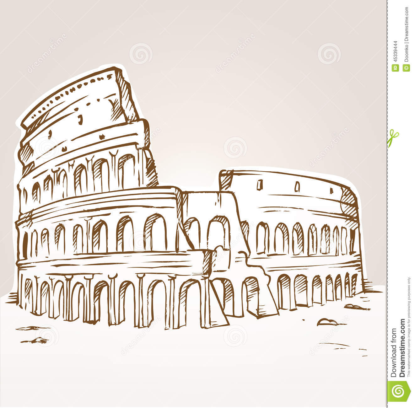 Colosseum Hand Draw Stock Vector. Illustration Of