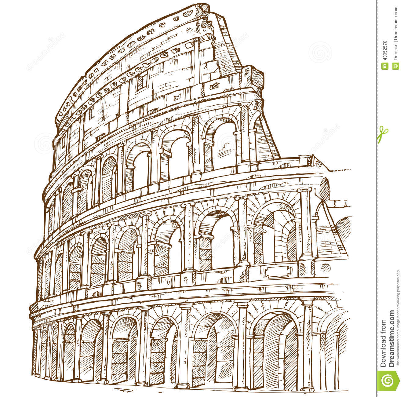 Colosseum Hand Draw Stock Vector - Image: 43052570