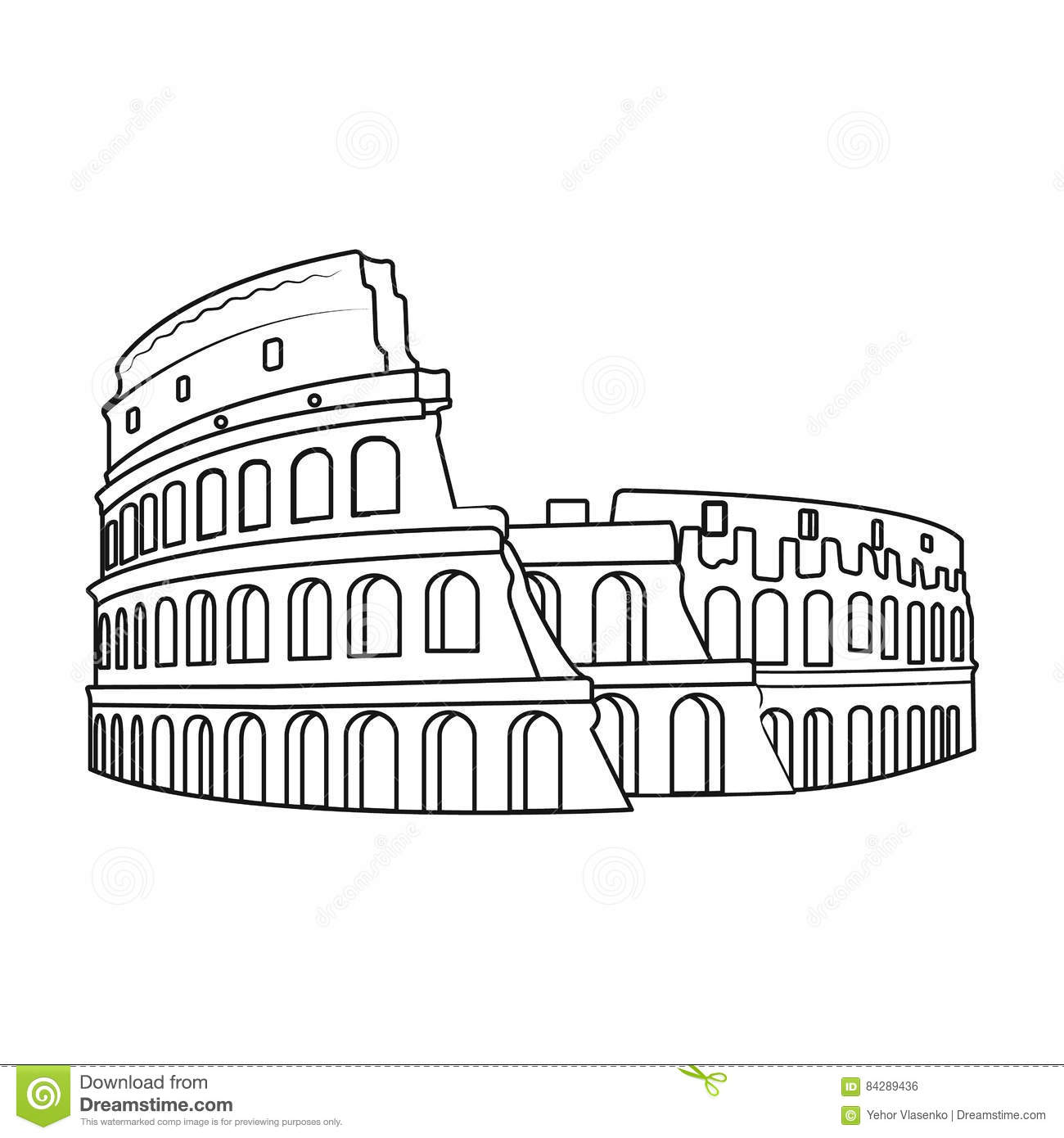 Colosseum in italy icon in outline style isolated on white for Colosseo da colorare
