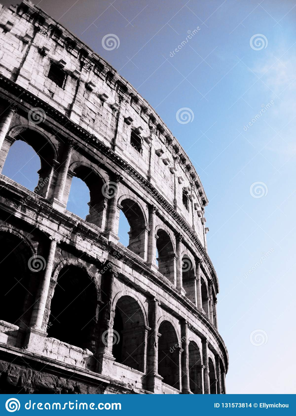 Low angle view of the Colosseum, Rome.