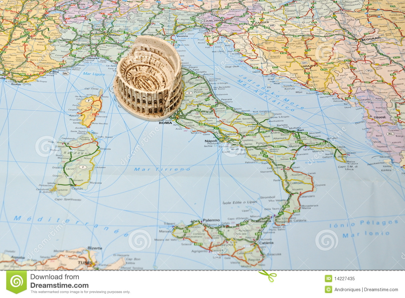 Printable Map Of Italy Free.Colosseum Rome On Italy Map Miniature Souvenir Stock Image