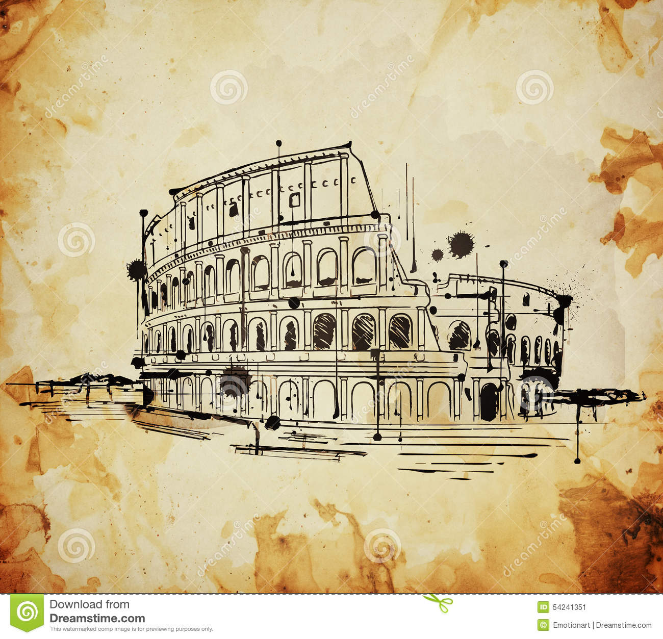 Colosseum, Rome, Italy Vintage Sketch Stock Illustration - Image: 54241351
