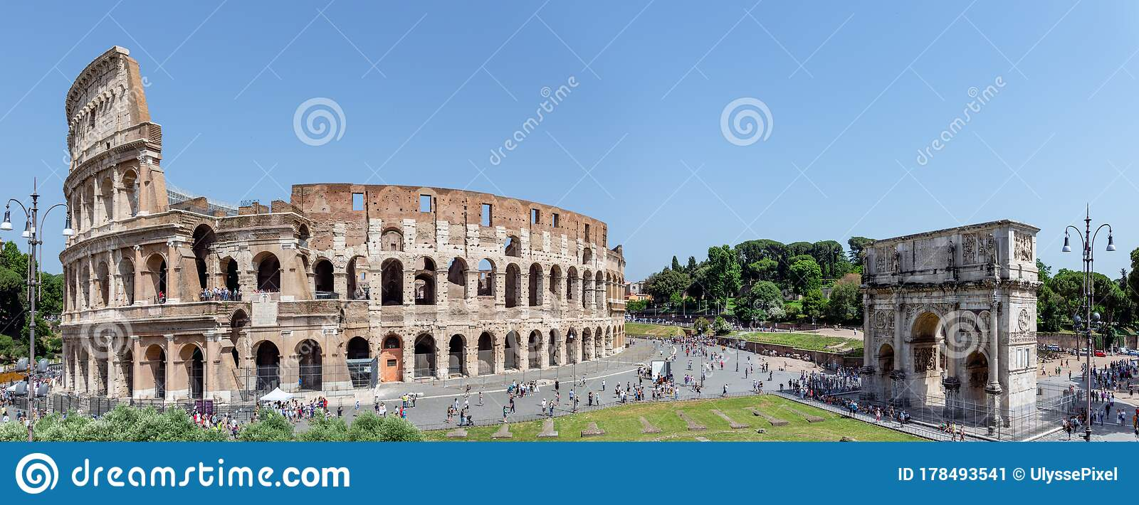 Colosseum And Triumphal Arch Of Constantine - Rome, Italy ...