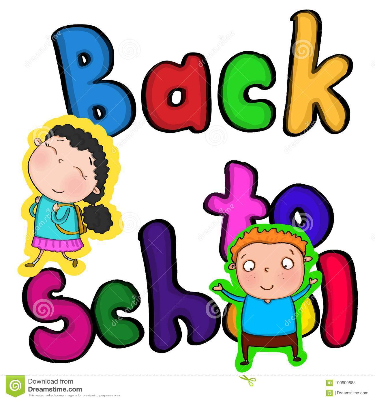 Colour Back To School Text And Girl With Cute Backpack Illustration