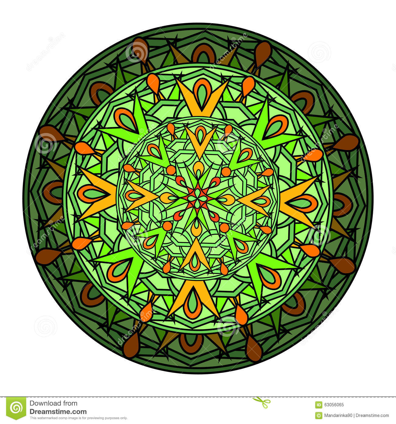 Colour Decorative Design Element With A Circular Pattern. Mandala ...
