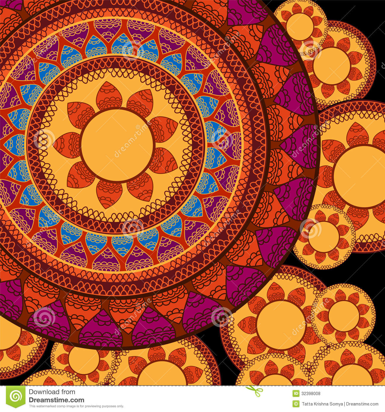 Colorful Henna Designs: Colour Henna Mandala Background Stock Vector