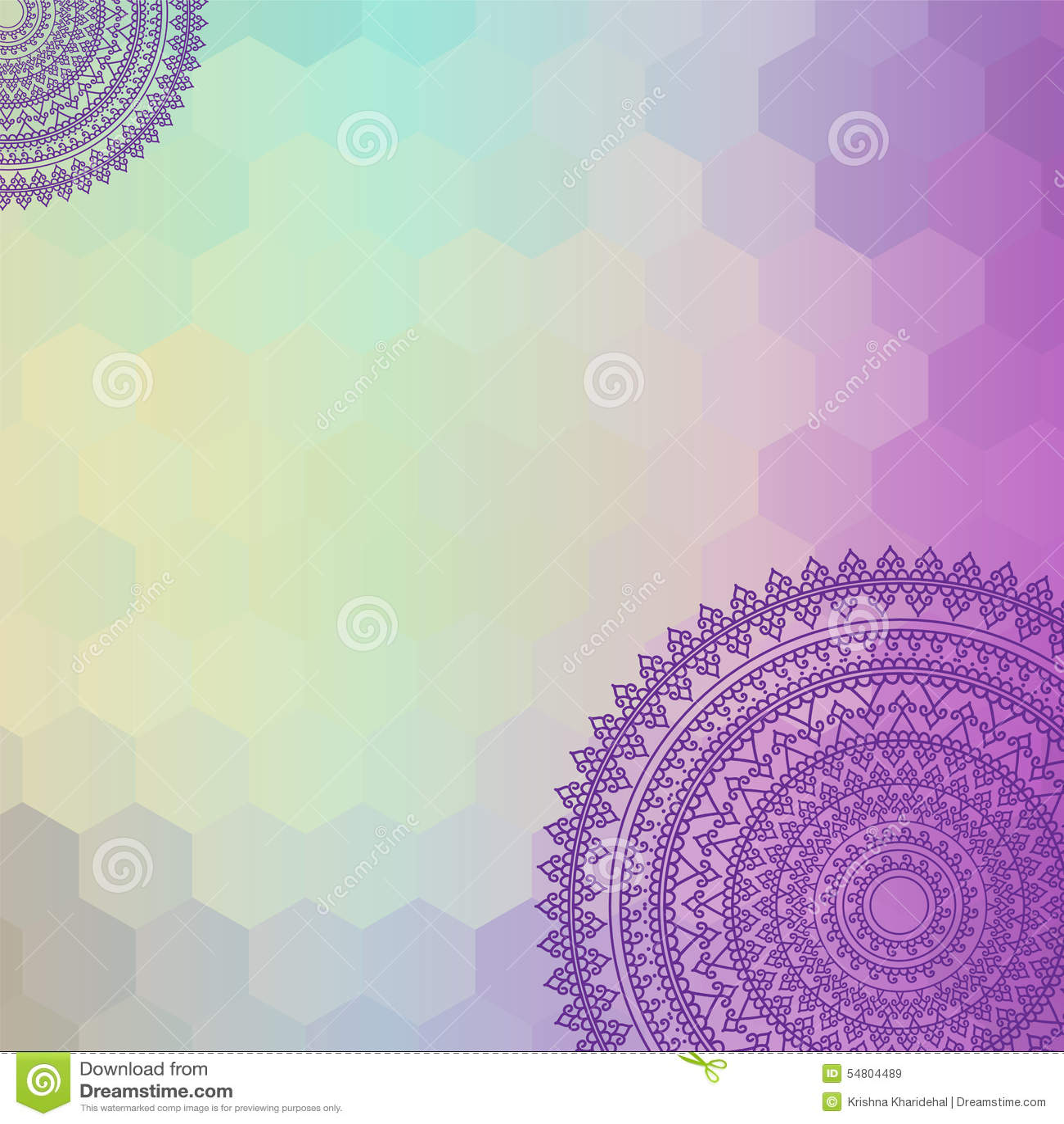 Colour Henna Mandala Background Stock Vector  Image 54804489