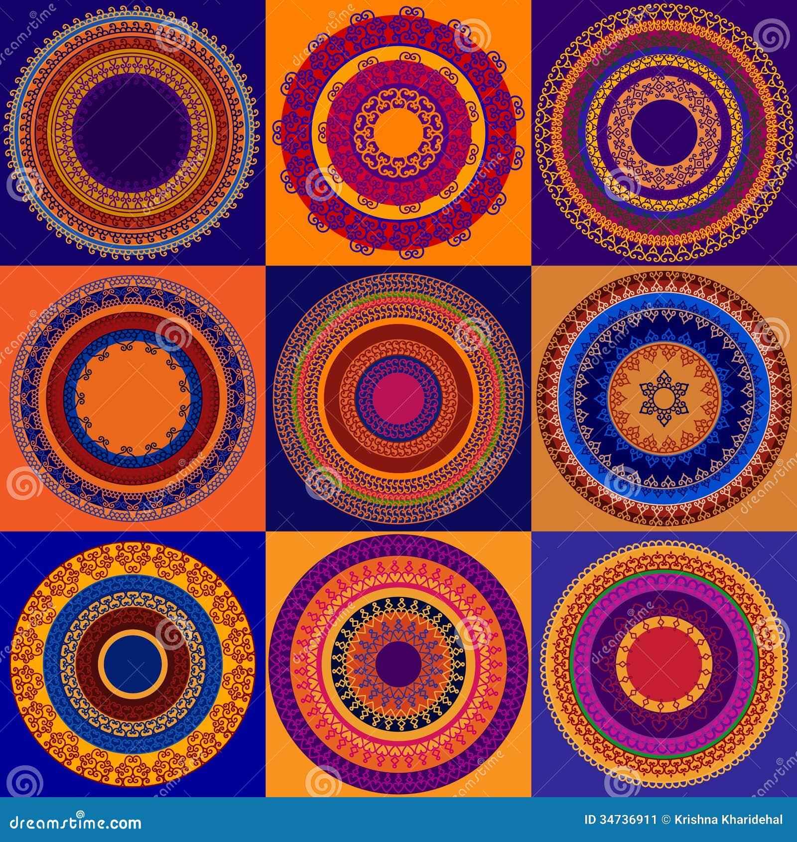 Colour Henna Mandala Background Stock Image  Image 34736911
