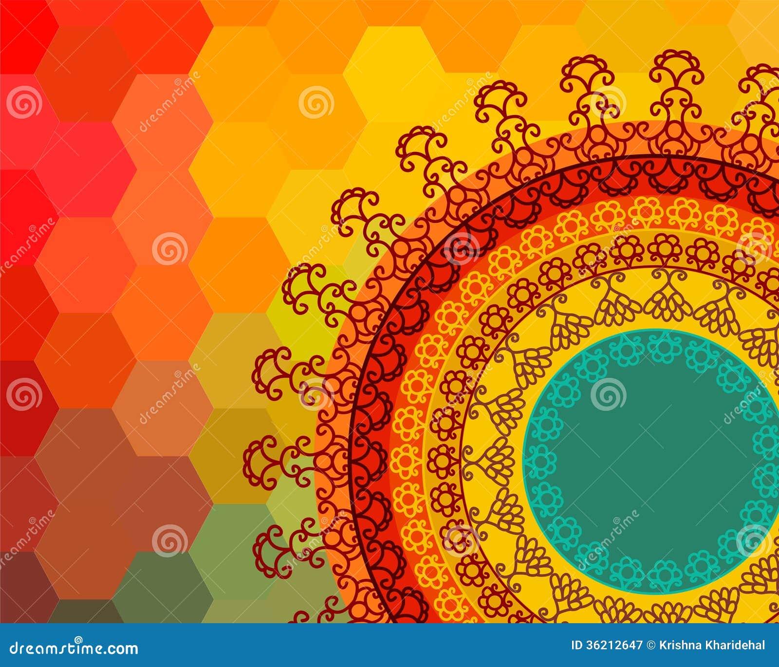 Colour Henna Mandala Background Stock Vector Illustration Of