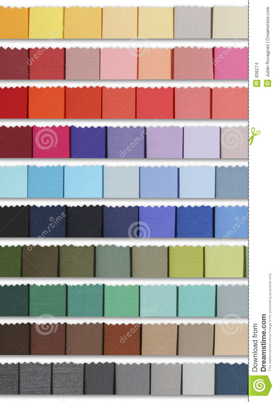 Colour samples palette of fabric