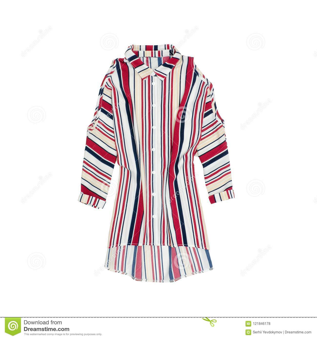 Colour striped shirt on a white background. Isolate. Fashion Con