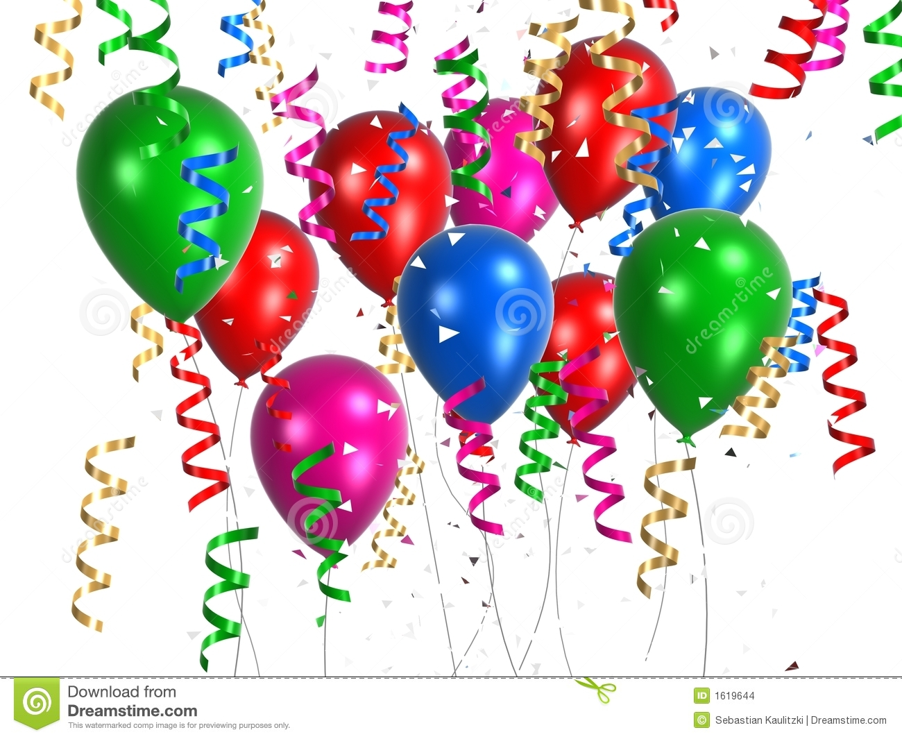 Coloured Balloon With Ribbons Stock Illustration Image