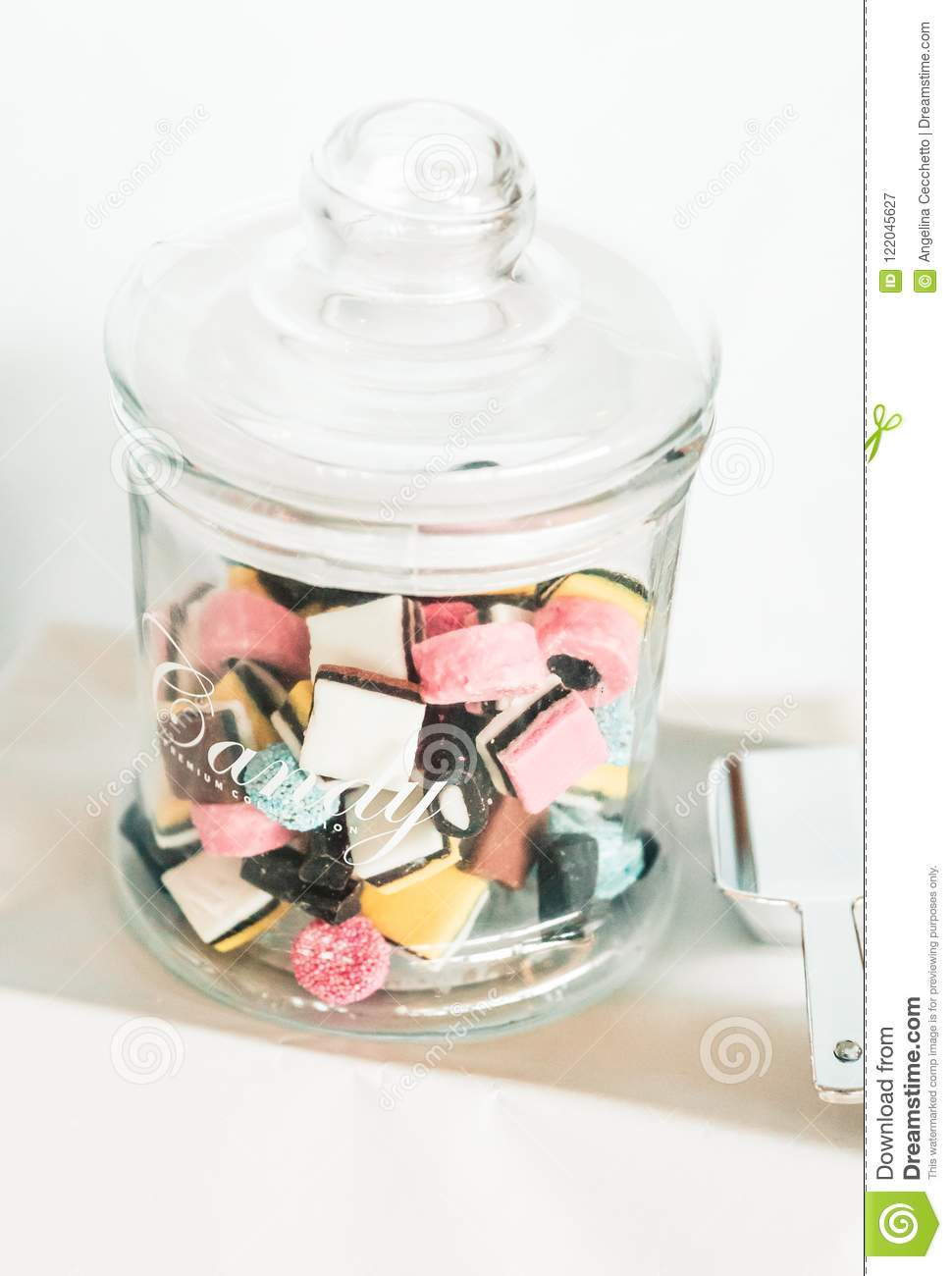 Sensational Coloured Candy Glass Jar On Sweet Bar Table Stock Image Download Free Architecture Designs Rallybritishbridgeorg