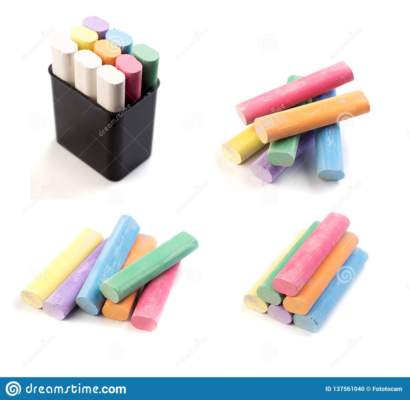 Coloured chalk for drawing on a white background - Image