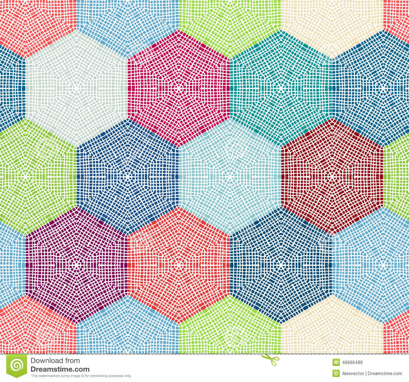 Coloured Crochet Hexagons. Stock Vector - Image: 46666489