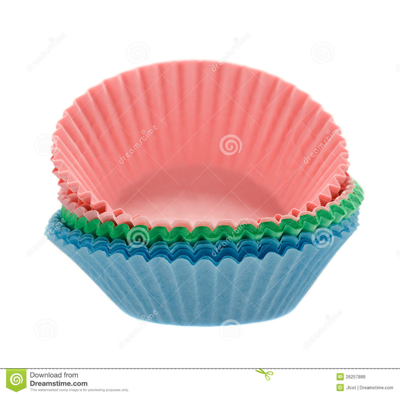 Coloured Cupcake Baking Paper Cases On White Royalty Free Stock ...