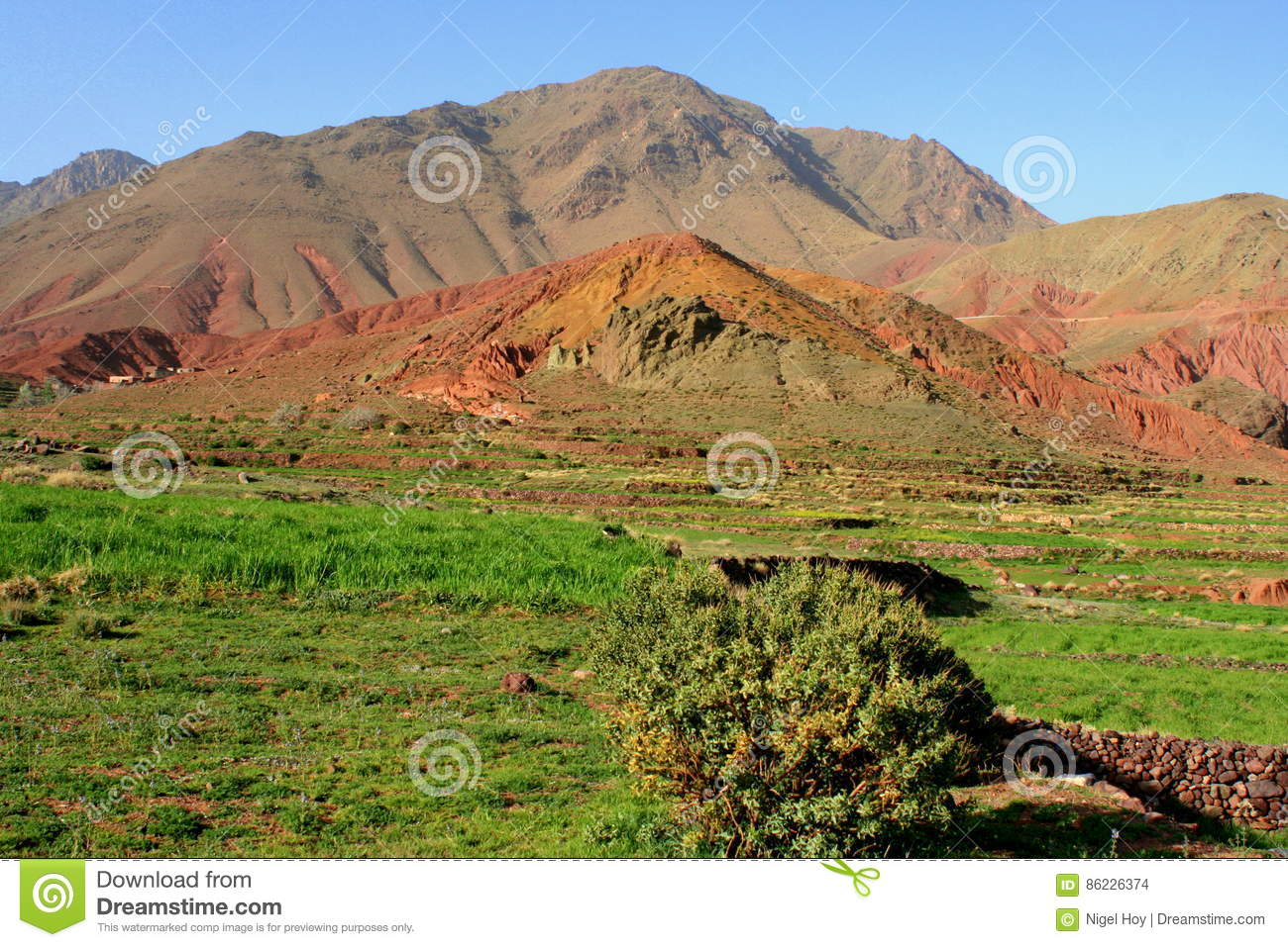 Coloured earth in Atlas Mountains