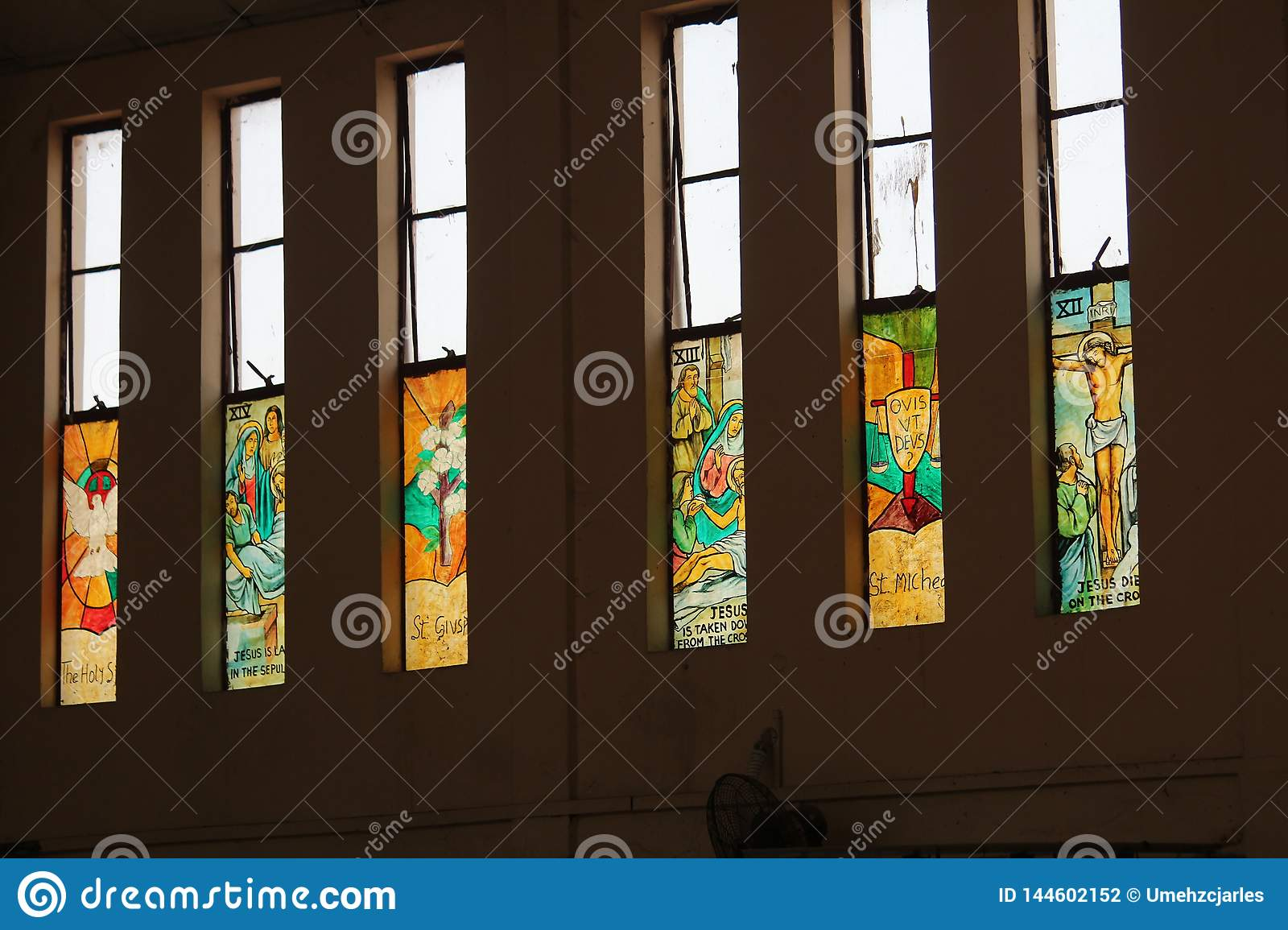 Coloured glass windows in our church