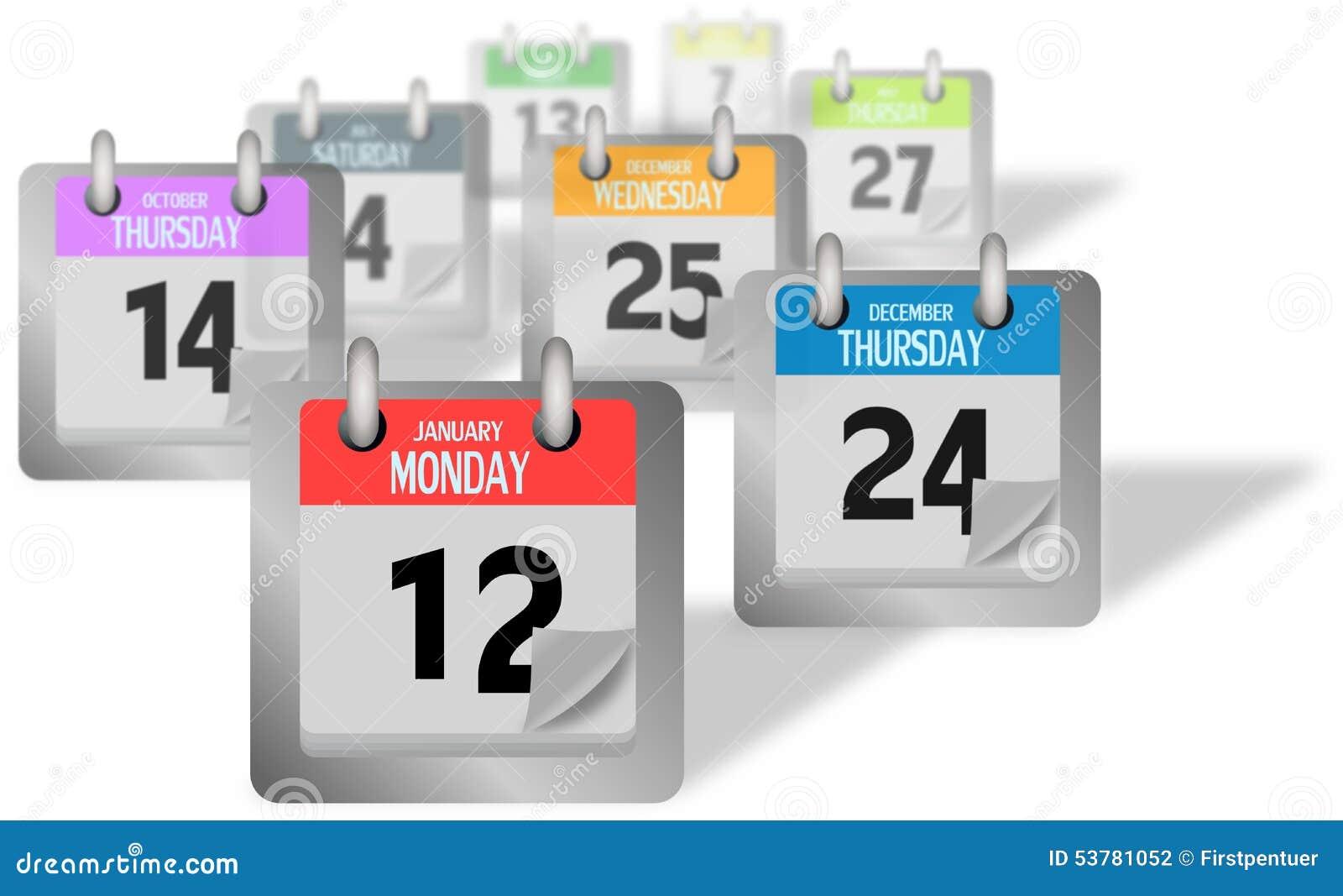 Coloured kalendarz wzywa pozycję biurko