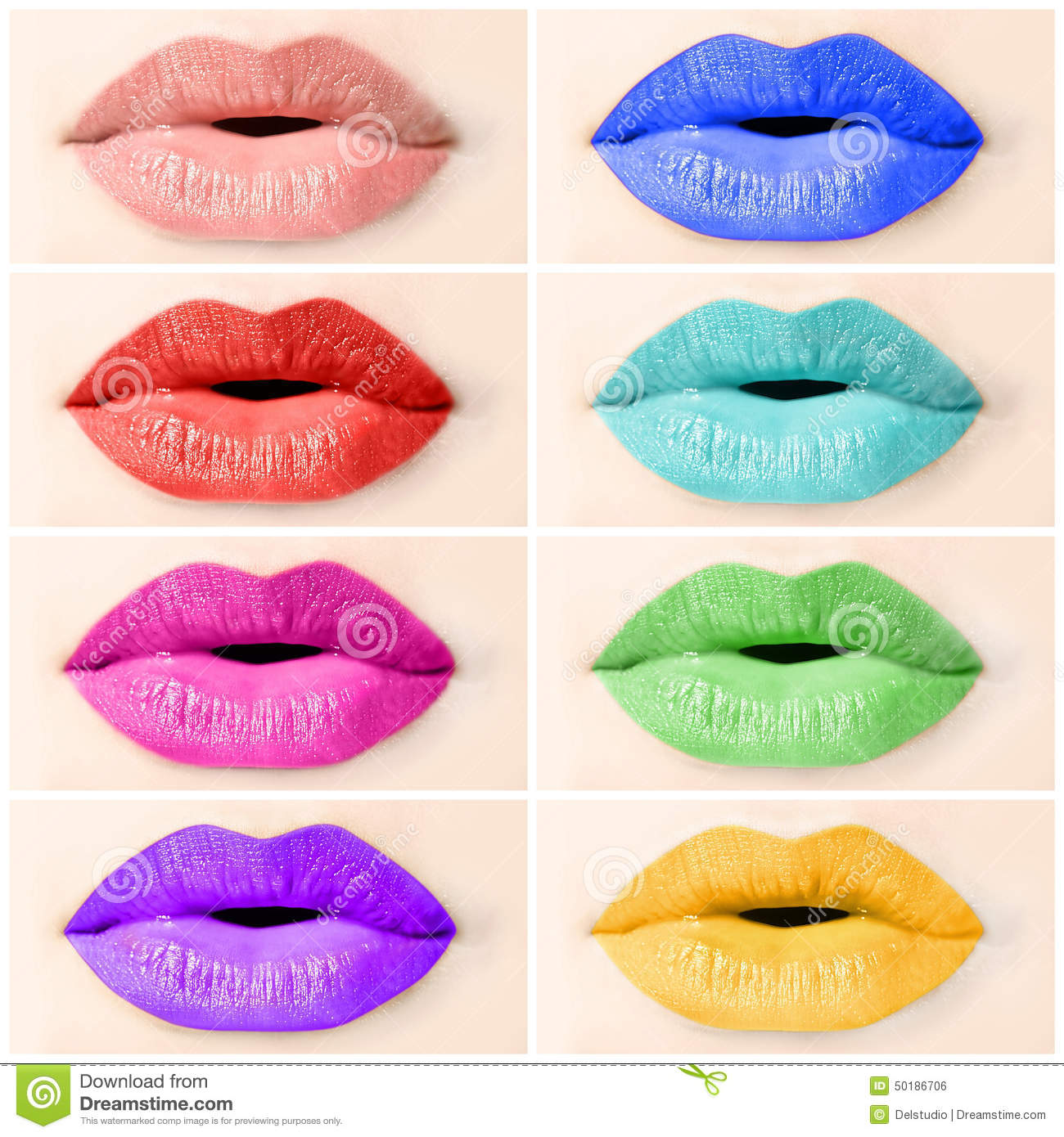 Coloured lips collage