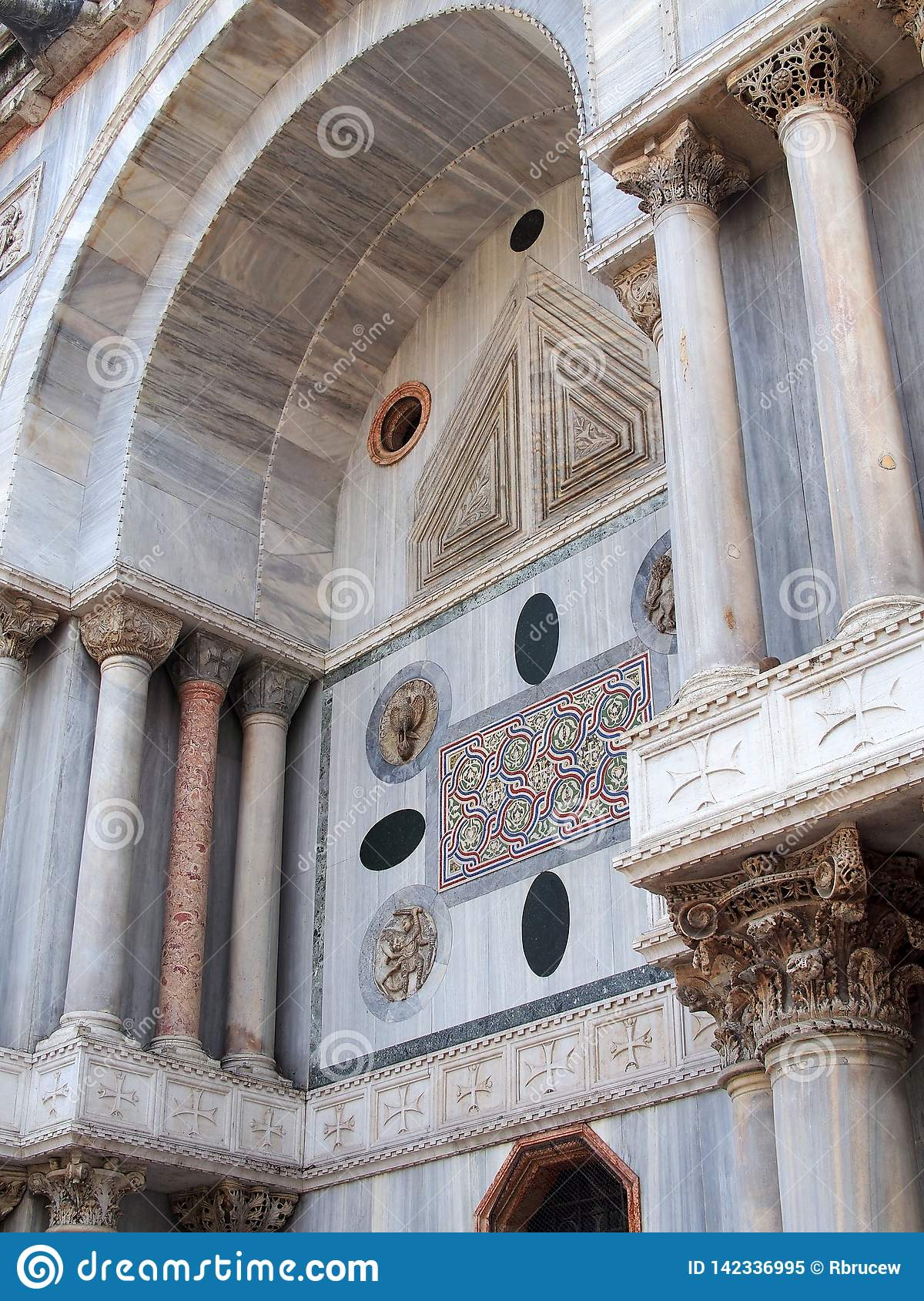 Coloured Marble Detail of St Mark`s Basilica, Venice, Italy