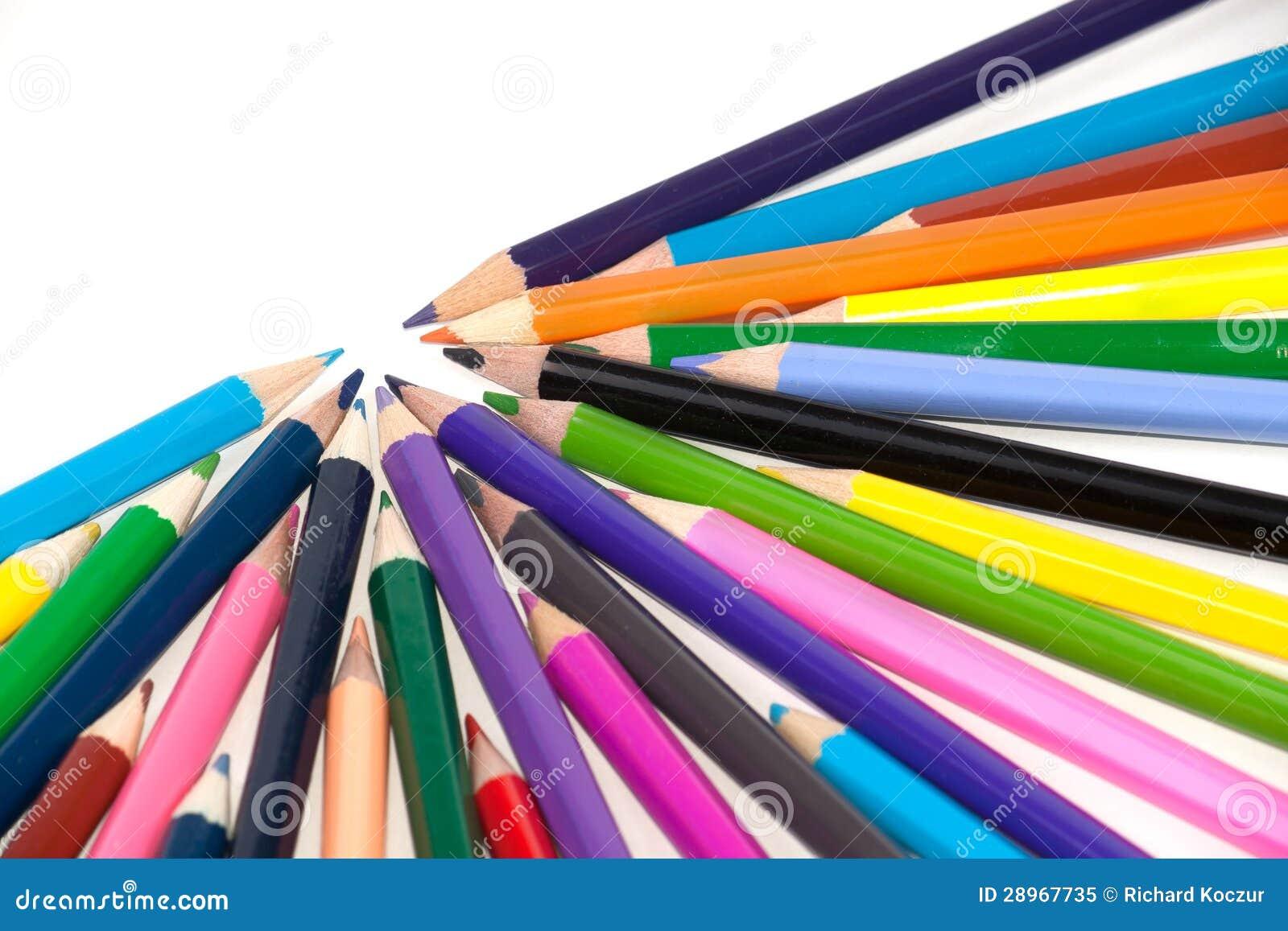 Coloured ołówki wskazuje jeden kierunek