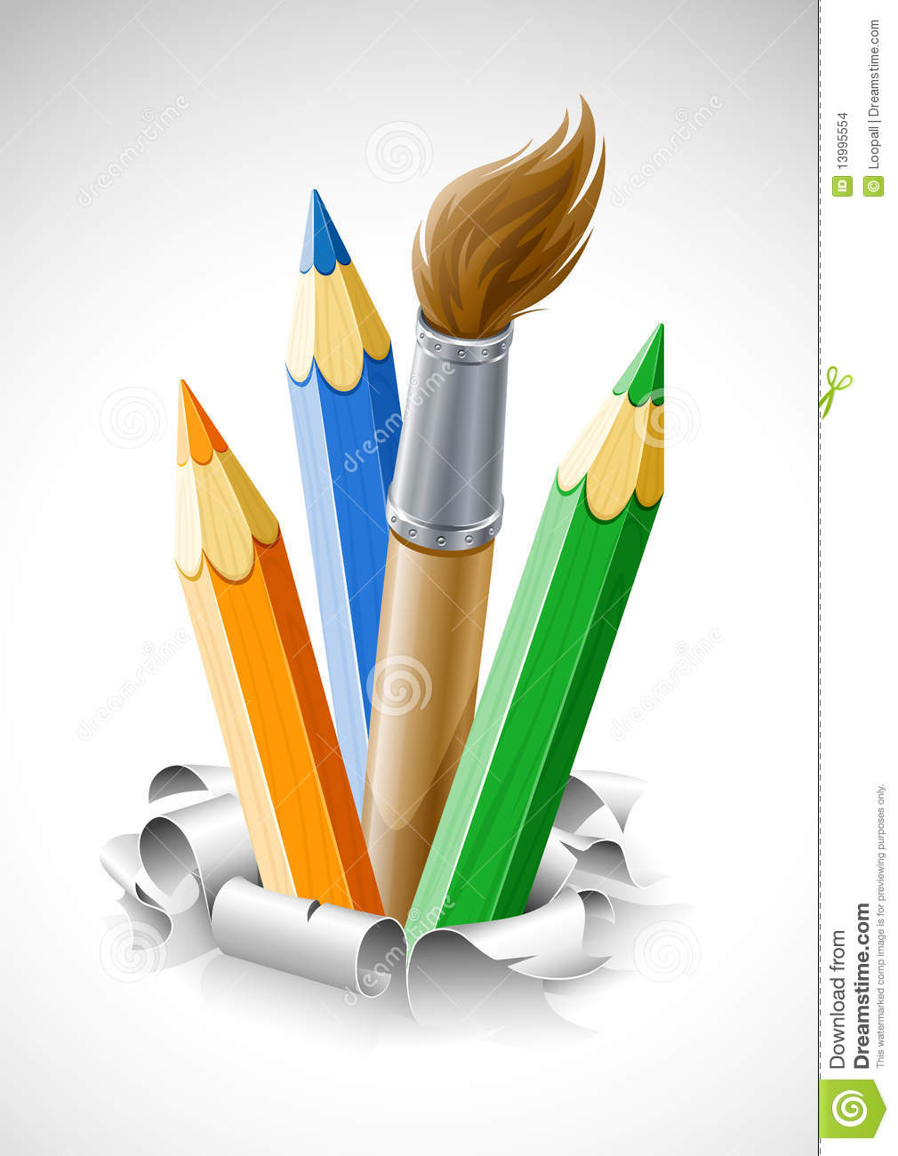 Coloured Pencils And Brush In Torn Paper Stock Images