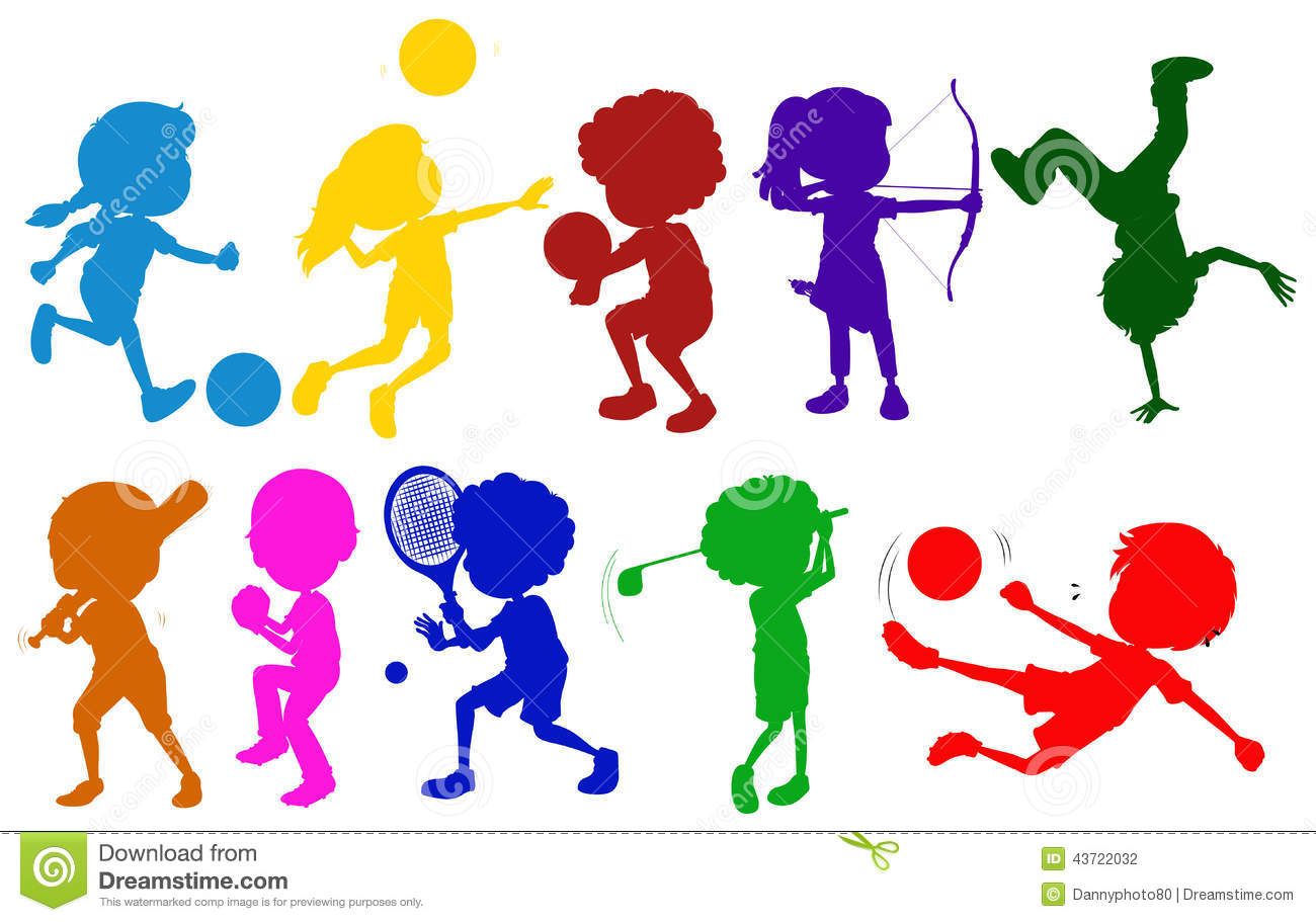 coloured sketches of kids playing with the different sports - Sports Images For Kids