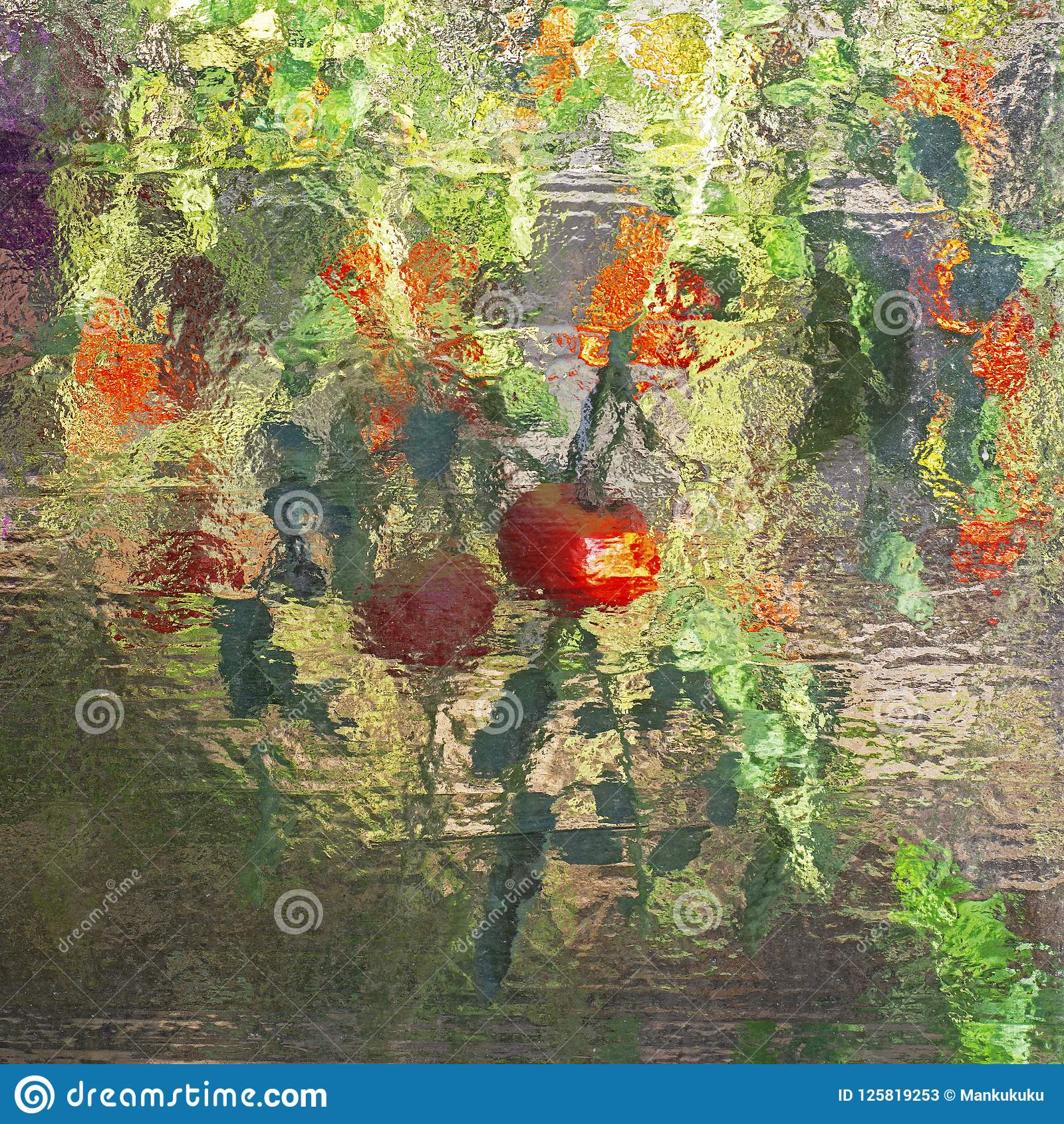 Colourful abstract stained glass. Vegetables reflection in window.