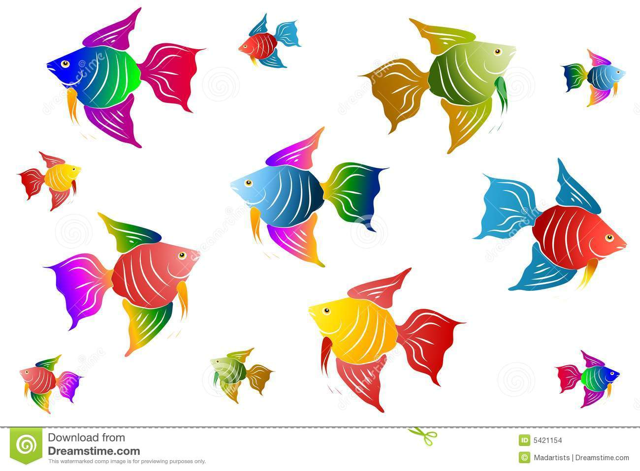 An illustration featuring an assortment of angel fish in bright ...