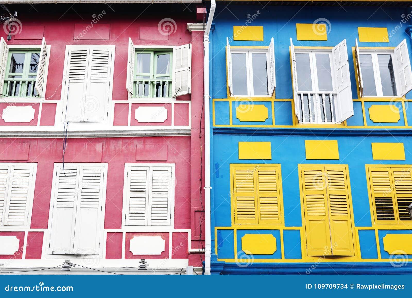 Colourful apartment buildings artistic structure