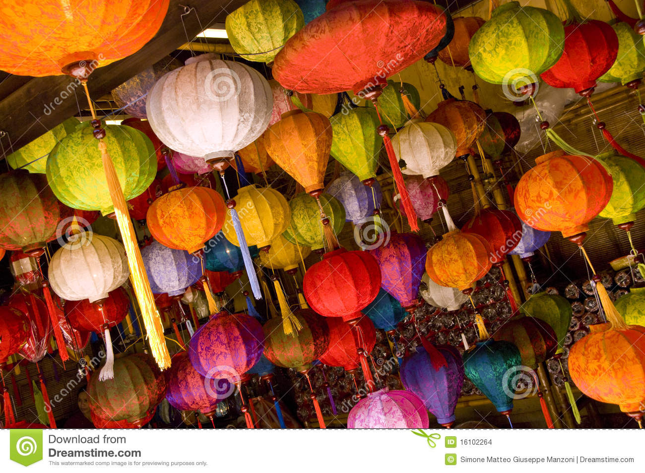 Colourful asian lamps