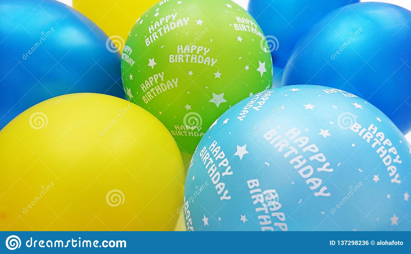 Colourful balloons in blue yellow apple green and turquoise with happy birthday text