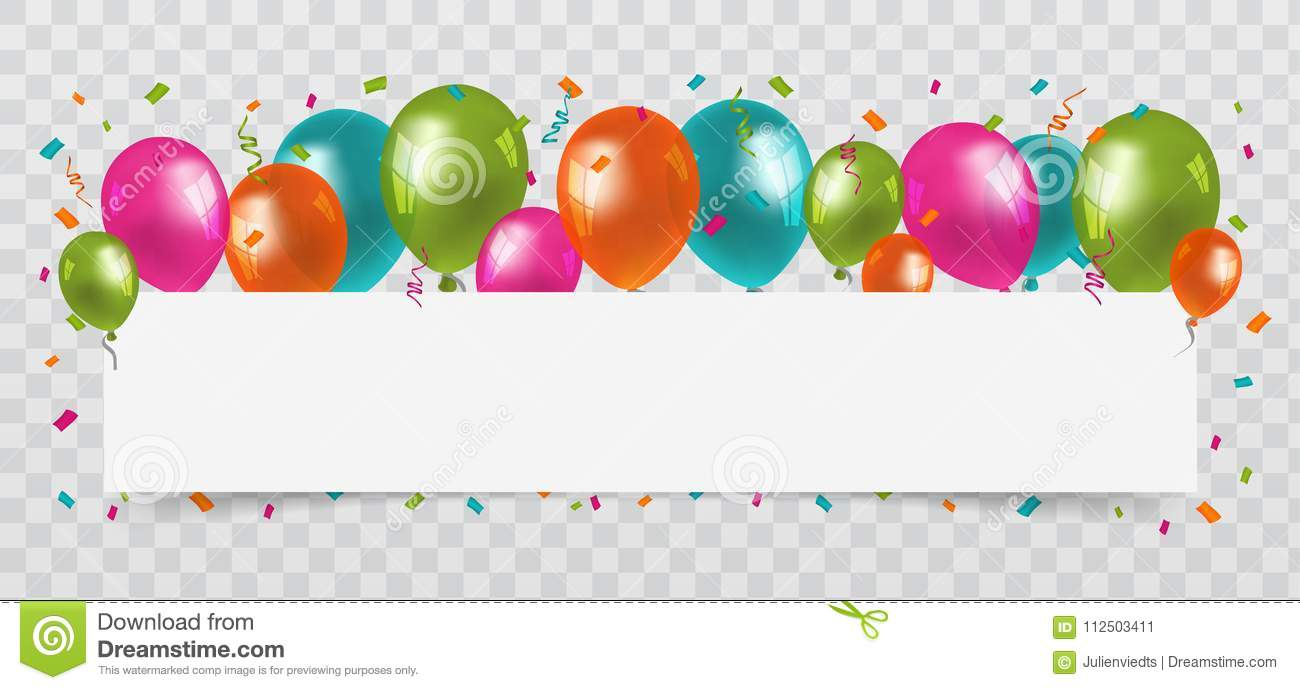 colourful balloons with confetti and streamers white paper free