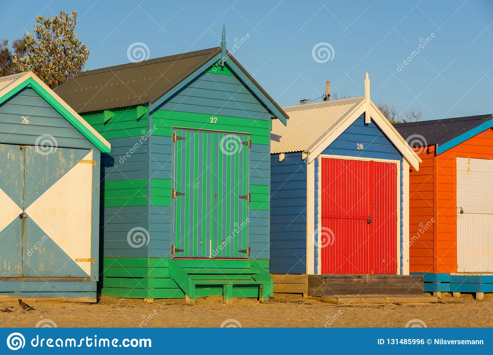 Colourful bathing boxes at Brighton Beach, a popular inner city beach. There are 82 bathing