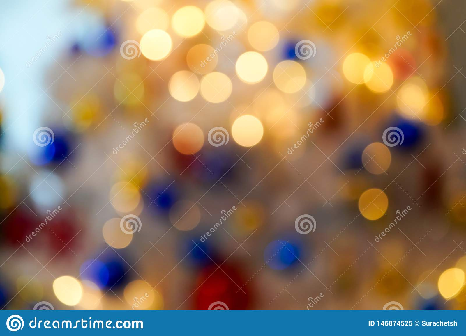 Colourful & Beautiful Blurry circle bokeh, out of focus background in the Christmas concept and theme