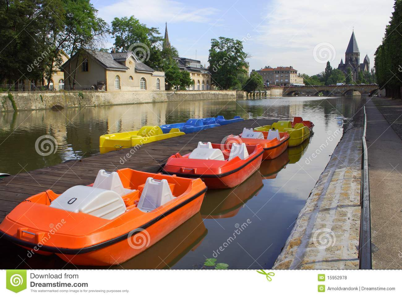 Colourful boats in Metz