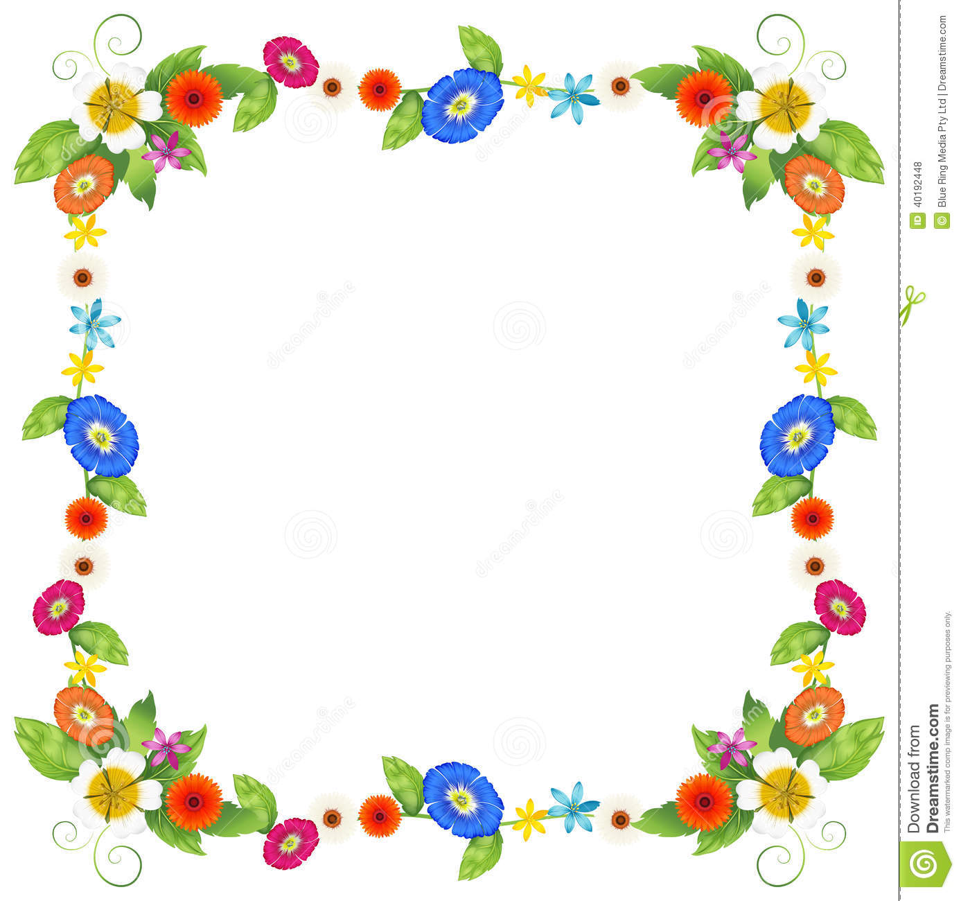 Illustration of a colourful border design on a white background.