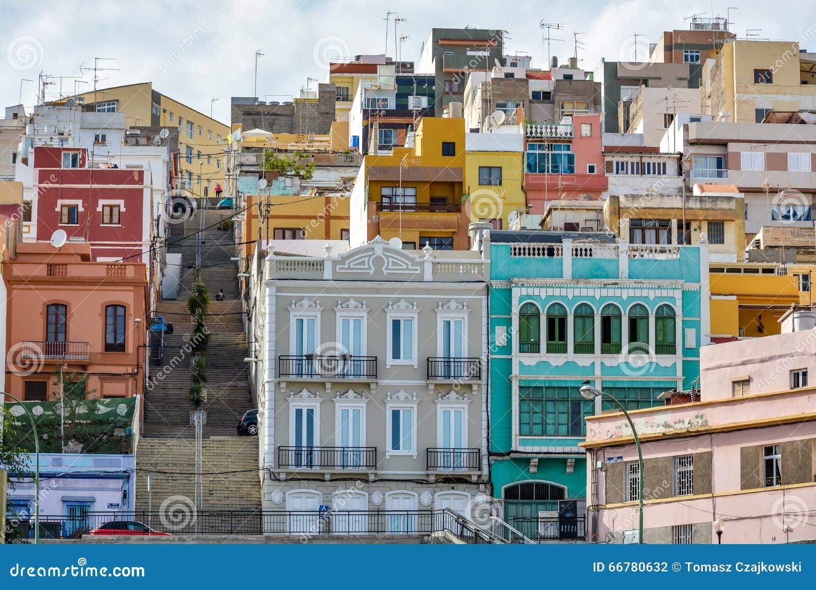 Colourful buildings in las palmas de gran canaria spain - Capital de las palmas ...